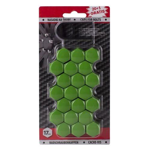 Díszkupak kerékanyára, zöld, 17mm