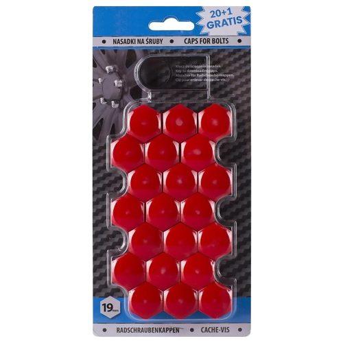 Díszkupak kerékanyára, piros, 19mm
