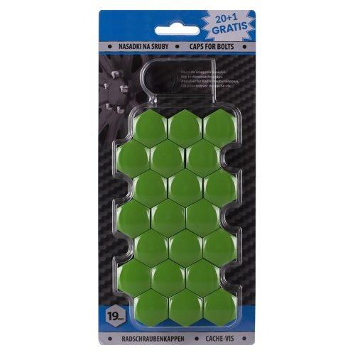 Díszkupak kerékanyára, zöld, 19mm