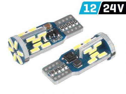 Vision W5W T10 izzó, 12/24V, 30xSMD 4014 led, Canbus, fehér
