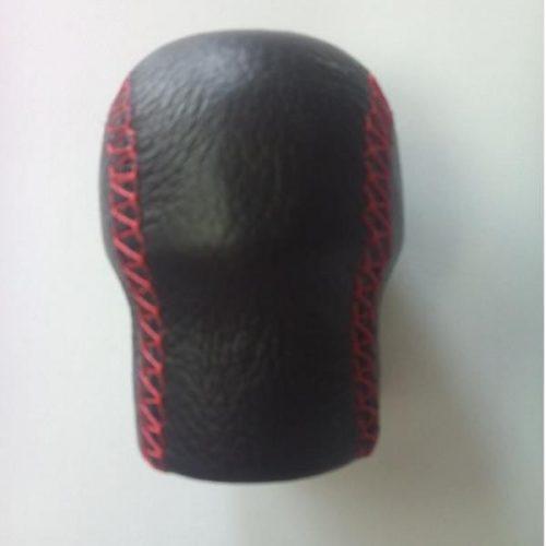 Váltógomb, Opel/Renault, fekete bőr piros varrattal