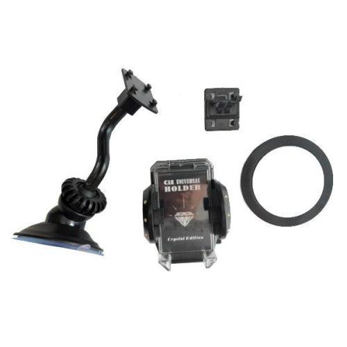Telefontartó, szélvédőre vagy szellőzőrácsba, állítható, kristálydíszítéssel