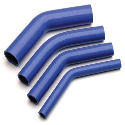 Szilikoncső, szűkítő könyök, 45fok, átmérő 25-38 mm, 150 mm
