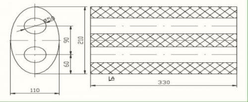 Univerzális ovál Kipufogó dob, Ø50, 350x210x120mm
