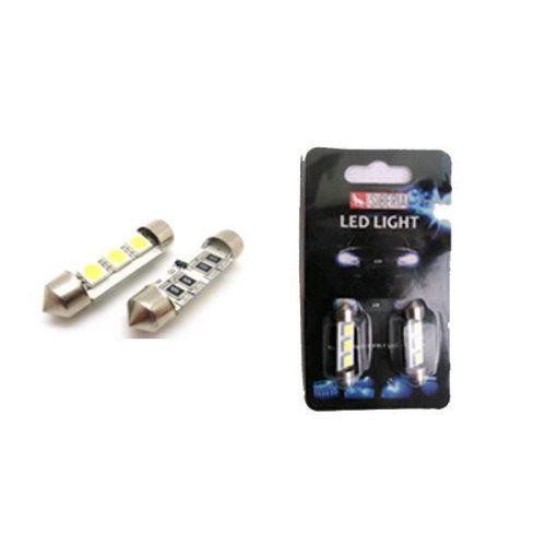 SBAutoparts SV8.5 szofita izzó, 3xSMD led, 3W, 12V, 39mm, Canbus, fehér